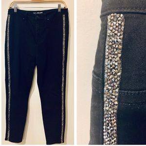 Black Stretch Jeans Rhinestone Tuxedo Stripe Trim